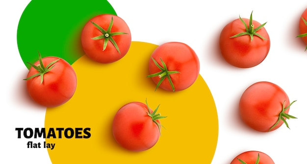 Tomato isolated on white background, flat lay, top view Premium Psd