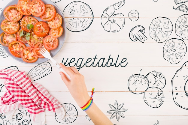 Tomatoes on plate and copyspace Free Psd