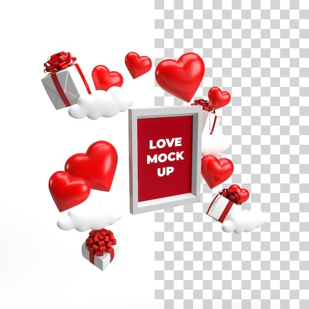상단 측면보기 부동 프레임 모형 발렌타인 개념 프리미엄 PSD 파일