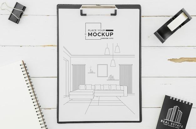 Design dell'architettura vista dall'alto con mock-up Psd Gratuite