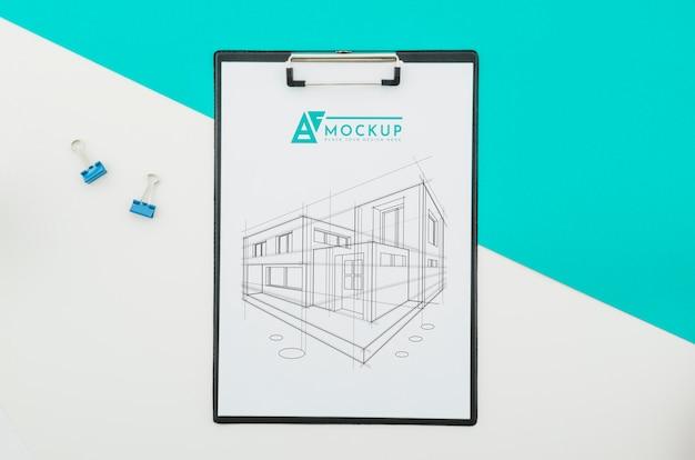 Disegno di architettura vista dall'alto con mock-up Psd Gratuite