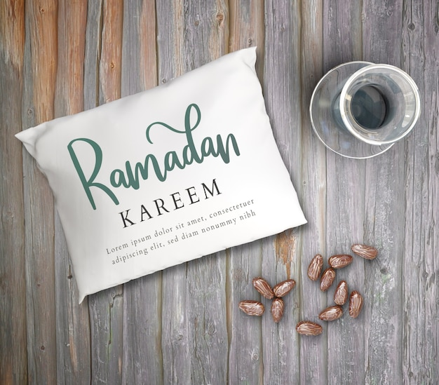 Top view  arrangement with dried dates and pillow Free Psd