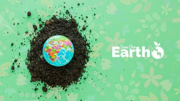 Top view arrangement with planet earth Free Psd
