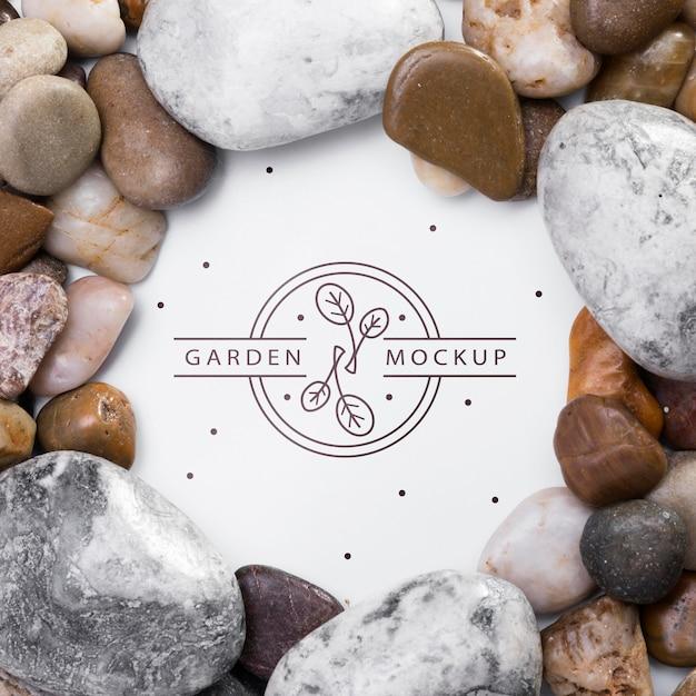 Vista dall'alto assortimento di rocce con mock-up Psd Gratuite