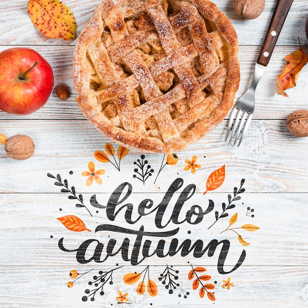 Top view autumn breakfast with pie Free Psd