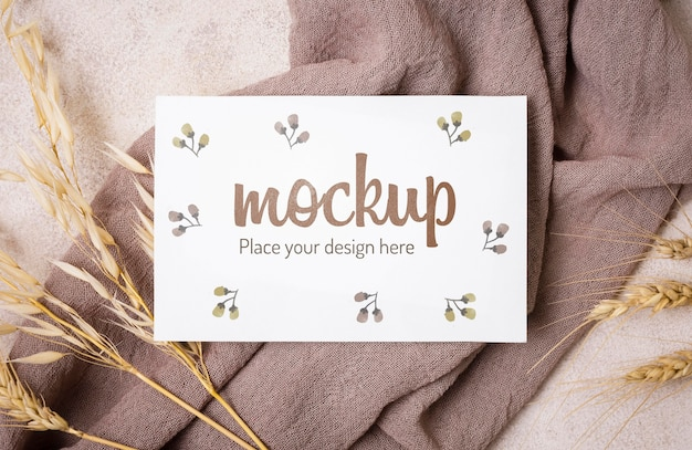 Top view autumn mock-up with wheat on grey cloth Free Psd