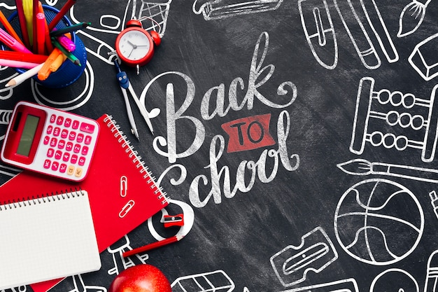 Top view back to school concept with chalkboard Free Psd