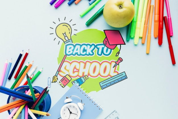 Top view back to school desk Free Psd