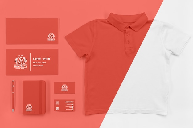 Top view of back to school essentials with t-shirt Free Psd