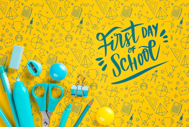Top view back to school event with supplies Free Psd