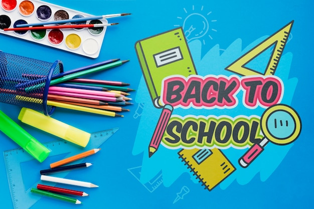 Top view back to school with blue background Free Psd
