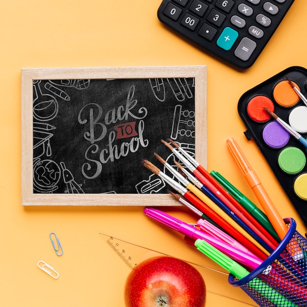 Top view back to school with chalkboard Free Psd