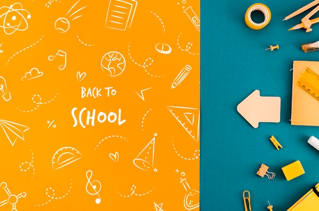 Top view back to school with colouful background Free Psd