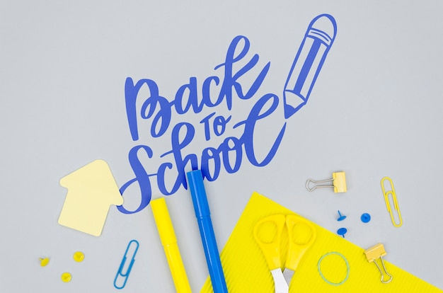 Top view back to school with grey background Free Psd