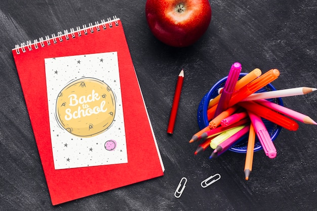 Top view back to school with a notebook Free Psd
