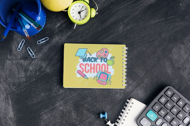 Top view back to school with notepad Free Psd