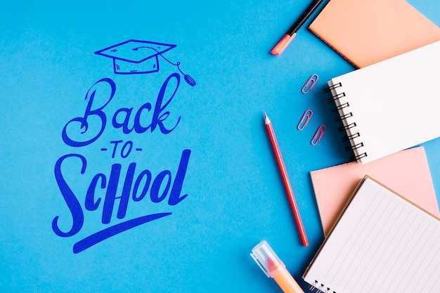 Top view back to school with office supplies Free Psd