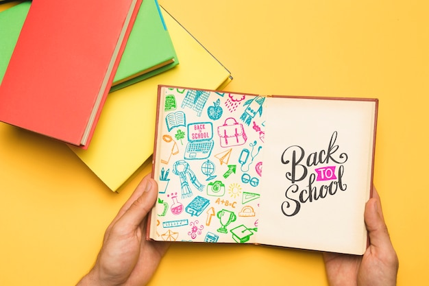 Top view back to school with open notebook Free Psd
