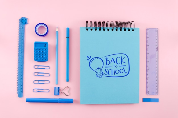Top view back to school with pink background Free Psd