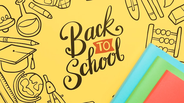 Top view back to school with yellow background Free Psd