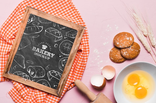 Top view bakery concept with mock-up Free Psd
