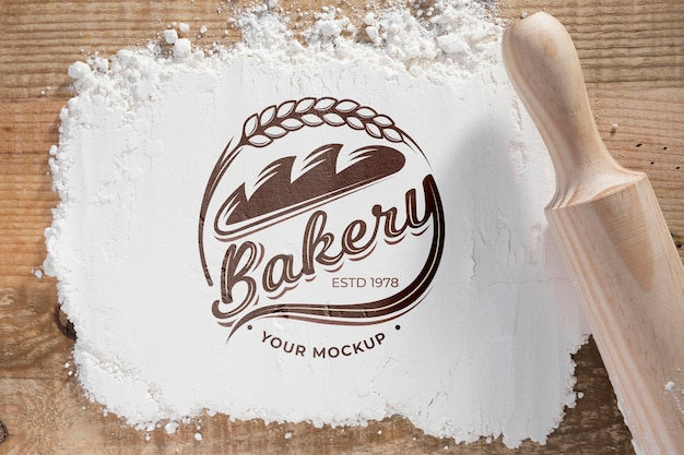 Top view bakery flower with mock-up Free Psd