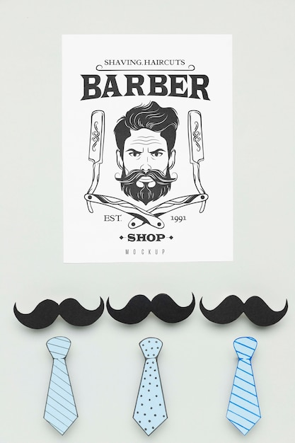 Top view barber shop poster with mock-up Free Psd