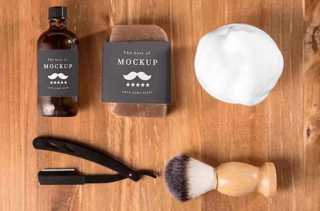 Vista dall'alto dei prodotti da barbiere Psd Gratuite