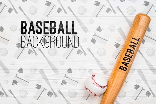 Top view baseball bat and ball Free Psd