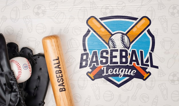 Top view baseball bat and glove with ball Free Psd