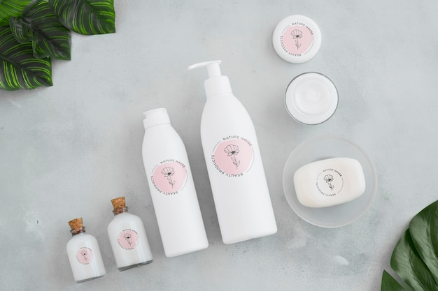 Top view bath concept with toiletries Free Psd