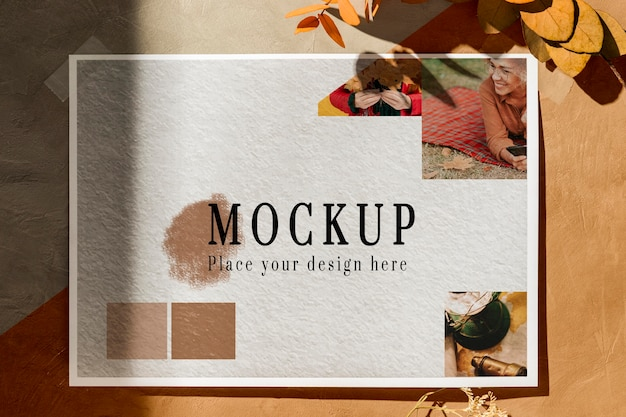 Top view of beautiful autumn moodboard mock-up Free Psd