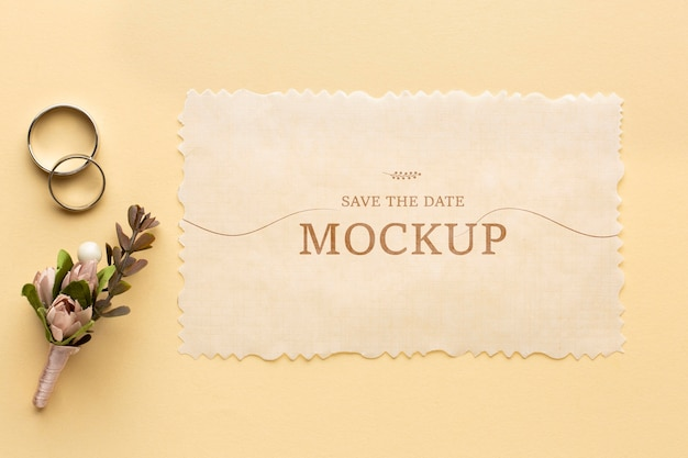 Top view of beautiful wedding concept mock-up Free Psd