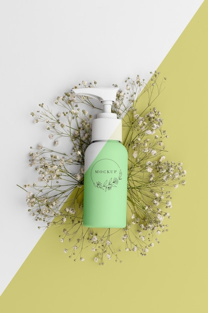 Top view of beauty product in bottle Free Psd