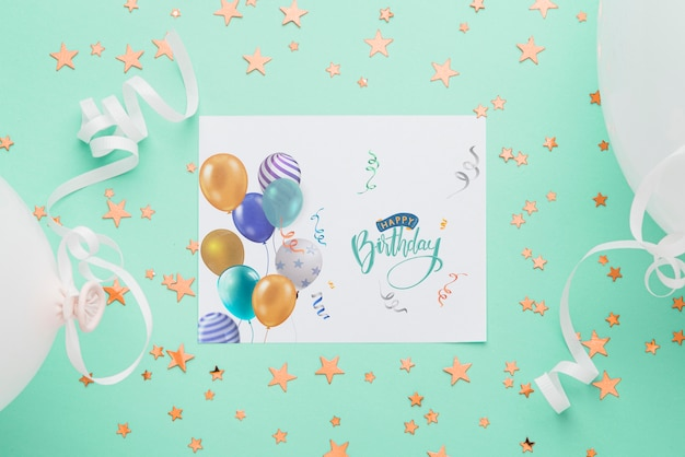 Top view birthday card mock-up Free Psd