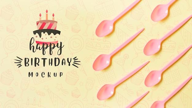 Concetto di compleanno vista dall'alto con mock-up Psd Gratuite