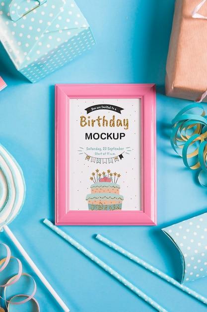 Concetto di compleanno vista dall'alto Psd Gratuite