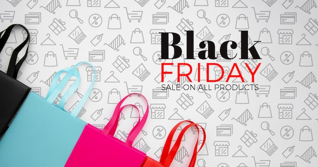 Top view of black friday concept on plain background Free Psd