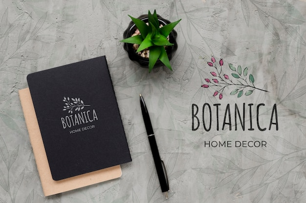 Top view botanic home decor concept Free Psd