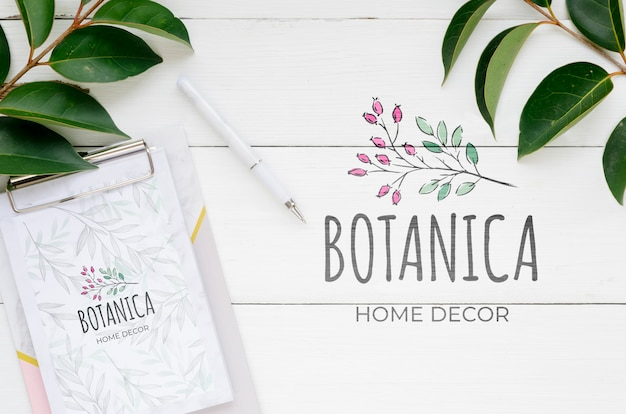Top view botanic house decor with mock-up Free Psd