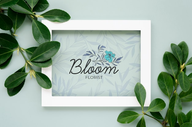 Top view botanical leaves with frame concept Premium Psd