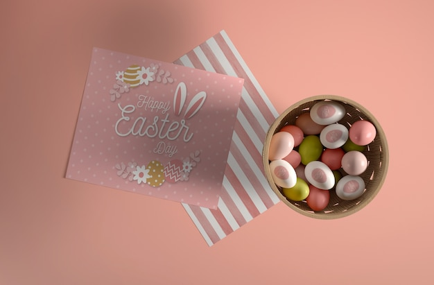 Top view bowl with painteg eggs for easter Free Psd