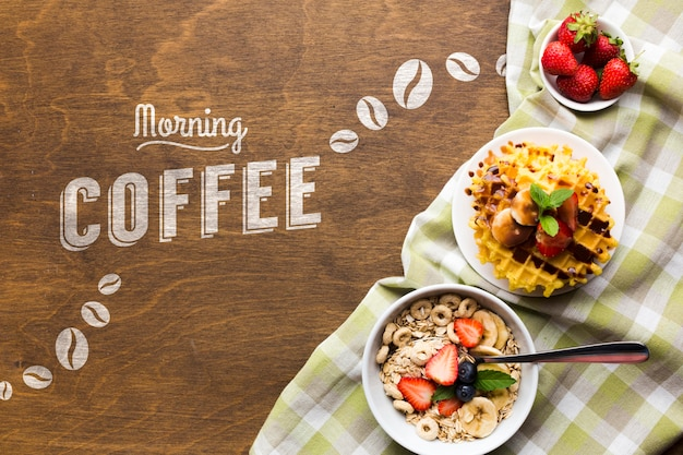 Top view of breakfast food with cereals and fruit Free Psd
