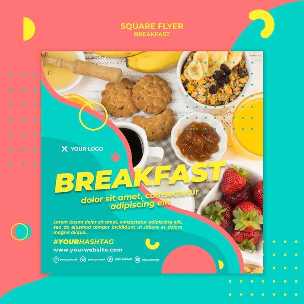 Вид сверху завтрак квадратный флаер Бесплатные Psd