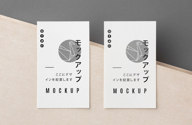 Top view business card mock-up composition Free Psd