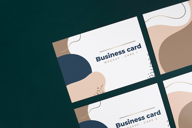 Top view business card mockup Free Psd