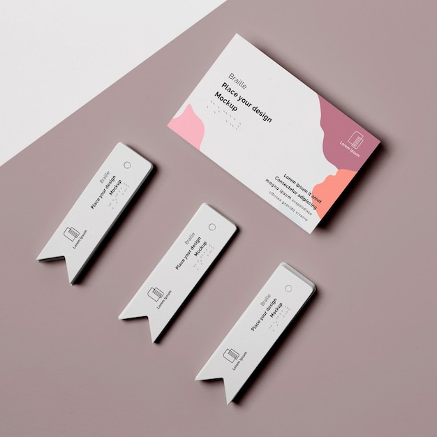 Top view of business card with braille writing Free Psd