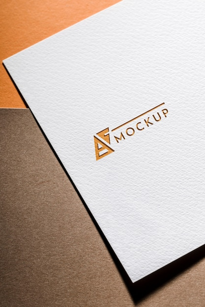 Top view of business mock-up card on coarse paper Premium Psd