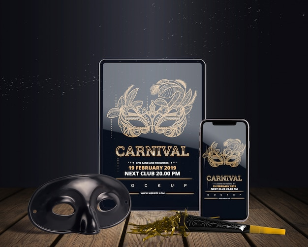 Top view carnival mockup with editable objects Free Psd