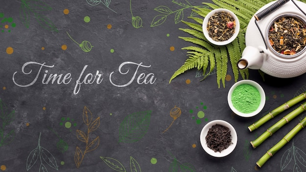 Top view ceramic tea pot with spices concept Free Psd